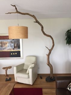Arc Floor Lamp made of weathered old oak branch. by GBHNatureArt