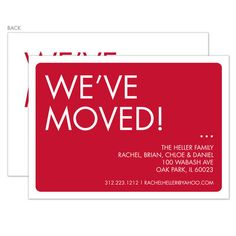Red We've Moved Moving Announcements