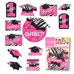 Pink Zebra Grad Cutouts from Windy City Novelties