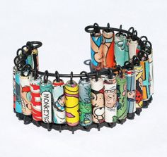 rolled comics into paper beads bracelets