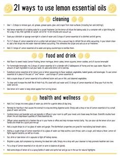 21 Ways To Use Lemon Essential Oils (Free Printable)