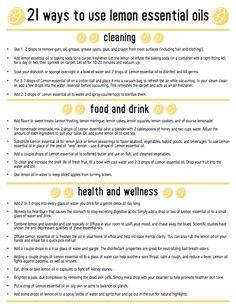 21 Ways To Use Lemon Essential Oils (Free Printable)