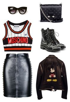 Punk Rocker by pupuwang on Polyvore featuring Moschino, Philipp Plein, Alexander Wang, Alexander McQueen and Thierry Lasry