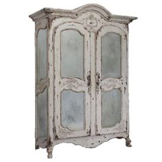 So incredibly detailed that it looks like an antique display piece, the vintage blue shabby chic armoire offers authenticity via old world craftsmanship. Stunning hand-carved rosettes and iron pendant hardware add charm. Shop Shabby Chic armoires now. Armoire Shabby Chic, Muebles Shabby Chic, Shabby Chic Dining Room, Chic Living Room, Shabby Chic Bedrooms, Shabby Chic Homes, Shabby Chic Furniture, Shabby Chic Decor, French Furniture