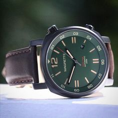 Magrette olive green Dual Time with black PVD case