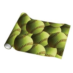 Yellow Softball Wrapping Paper $18.95 A yellow softball background. Natural shadows from outdoors on the ball.