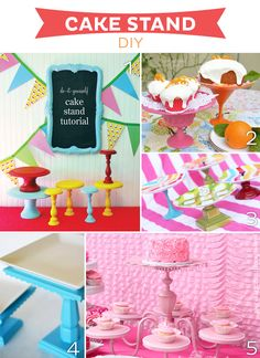 Cake Stand DIY--15 fabulous cake stand splurges, bargains and diy from www.strawberrymommycakes.com