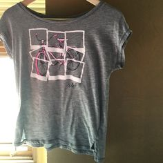 Abercrombie kids Gray top Abercrombie kids gray top. cute pink, navy, and white bicycle on it. Abercrombie & Fitch Tops Tees - Short Sleeve