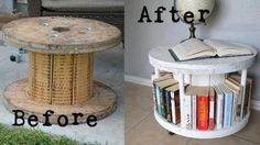 Repurpose a Cable Spool Into a Bookcase. This is awesome. Now I need to find a cable spool to re-purpose into an end table. Repurposed Furniture, Diy Furniture, Chest Furniture, Studio Furniture, Repurposed Wood, Repurposed Items, Urban Furniture, Street Furniture, Distressed Furniture