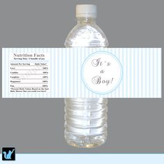 INSTANT DOWNLOAD Blue Stripes Baby Shower Water Bottle Labels Wrappers - Its a Boy Baby Shower Favors Party Favors Baby Shower Decorations