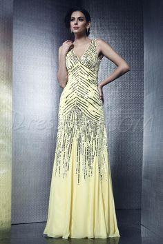 Dresswe.comサプライ品フロアレングスVネックTalineのイブニングドレス イブニングドレス2014