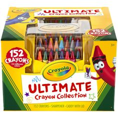 CRAYOLA-Ultimate Crayon Collection With Sharpener And Caddy. Proudly display your Crayola crayons with the ultimate crayon collection. This multi-tiered, four-sided case lets you organize and find cra