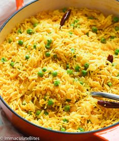 South African Yellow Rice- Quick, easy fragrant rice spiced with turmeric, ginger, and a taste bud sensation. South African Recipes, Indian Food Recipes, Vegetarian Recipes, Cooking Recipes, Ethnic Recipes, Healthy Cooking, Yellow Rice Recipes, Yellow Foods, Rice Dishes