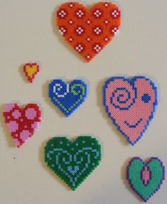 Hearts hama beads by ki-vi Pearler Beads, Fuse Beads, Hama Beads Patterns, Beading Patterns, Valentine Day Crafts, Valentines, Pixel Art, Iron Beads, Beaded Cross Stitch