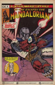 Check out this really cool comic book art from James Yusufi. He turns The Mandalorian into a comic book, old school Marvel style. Find it here at The Movie Sleuth! Best Comic Books, Vintage Comic Books, Vintage Comics, Comic Books Art, Comic Art, Joker Comic, Star Wars Pictures, Star Wars Images, Comic Book Panels