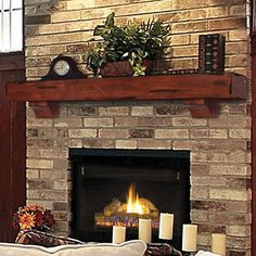 Pearl Mantels Shenandoah Traditional Fireplace Mantel Shelf - Fireplace Mantels & Surrounds at Hayneedle Fireplace Shelves, Rustic Fireplaces, Traditional Fireplace Mantel, Wood Fireplace, Fireplace Decor, Brick Fireplace, Rustic Fireplace Mantels, Fireplace Hearth