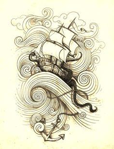 """Preto e branco"". Indian Tattoo Design, Octopus Tattoo Design, Tattoo Designs, Dark Drawings, Tattoo Drawings, Tatuagem Old School, Aboriginal Art, Drawing Techniques, Graffiti"