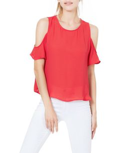 2bba53f90e LE3NO Womens Chiffon Loose Fit Cut Out Shoulder Short Sleeve Blouse Top  (CLEARANCE) Loose