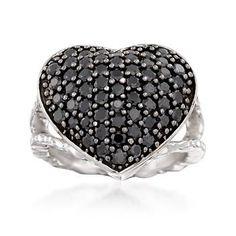 Ross-Simons - Black Spinel Heart Ring in Sterling Silver - #860235
