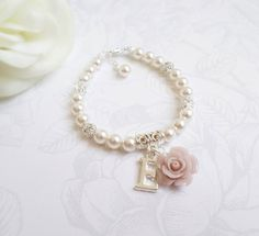 Personalized Rose And Pearl Flower Girl Bracelet by JessicasBridal