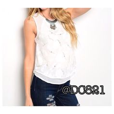 Gem Sleeveless Blouse Perfect white sleeveless blouse with crystal gem detail. Double lined on front and key hole closure on back. Made of a soft flowy chiffon/cotton blend. Size S, M, L Tops Blouses