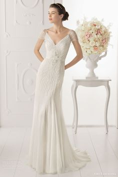 aire barcelona bridal 2014 opalina short sleeve illusion beaded column gown
