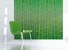 Emerald green bamboo removable wallpaper from Lumi Opus. Serious fun! Is that such a thing? #decorating #trends