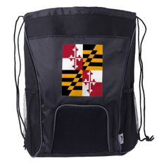 #Dynamic Maryland State Flag Graphic on a Drawstring Backpack - #travel #accessories