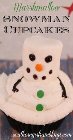 Marshmallow Snowman Cupcakes Recipe #desserts #cupcakes #recipes
