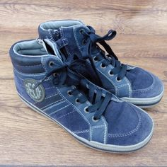 SIZE UK 2.5 GEOX RESPIRA BLUE SUEDE BASEBALL STYLE LACE UP & ZIP ANKLE BOOTS