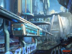 City---Downtown-monorail by AKIRAwrong on DeviantArt Cyberpunk City, Futuristic City, Futuristic Design, Futuristic Architecture, Fantasy City, Sci Fi Fantasy, Fantasy World, Sci Fi Stadt, Sci Fi Environment