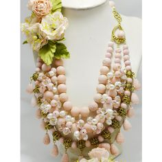 Wedding Peach Coral Jewelry Statement Multi Strand Necklace with... ($220) ❤ liked on Polyvore featuring jewelry, necklaces, flower necklaces, bridal jewellery, coral flower necklace, boho necklace and multi strand beaded necklace