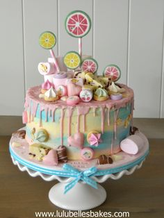 Chocolate drip cake with candy