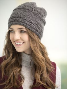 Tivoli Slouch Hat. Knit this easy hat with just 1 skein of soft new Vanna's Complement! Pattern is knit in the round with size 8 16 inch circular needles.