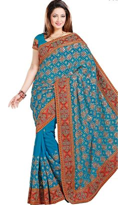 Shop Beautiful Ethnic Turquoise Faux #ChiffonDesignerSaree Product Code: KDS-39625 Price: INR 5145(Unstitch Blouse), Color: Turquoise Shop Online now: http://www.efello.co/Saree_Beautiful-Ethnic-Turquoise-Faux-Chiffon-Designer-Saree,-Sari_38041