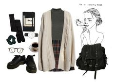 """I'm so tired"" by clowdya on Polyvore featuring Moleskine, Oliver Peoples, AllSaints, American Eagle Outfitters, Daniel Wellington, Topshop, Dr. Martens, women's clothing, women's fashion and women"