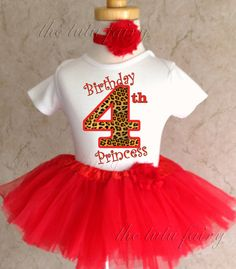 Fast Shipping  Birthday Red Cheetah Spots by BirthdayTutuOutfits