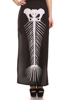 Mermaid Skeleton Long Skirt- Black from POPRAGEOUS