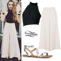 Steal Her Style Sabrina Carpenter. Crop Top Styles, Plazzo Pants Outfit, Crop Top Elegante, Sabrina Carpenter Outfits, Style Tumblr, Chic Outfits, Fashion Outfits, Estilo Cool, Mode Hijab