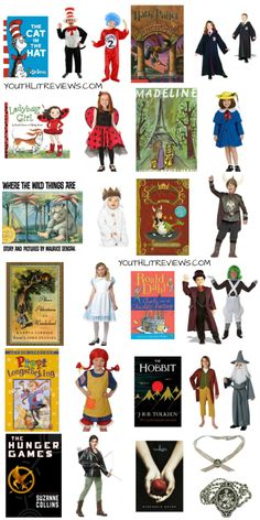 Book Character Costumes for Halloween (Or Anytime!) Book Character Costumes for Halloween (Or Anytime!),Storybook characters Costumes that are perfect for Literature or Storybook character parades. Related Perfect Halloween Costumes For Every Teacher &. Kids Book Character Costumes, Story Book Costumes, Book Characters Dress Up, Book Character Day, Character Dress Up, World Book Day Costumes, Book Week Costume, Storybook Characters, Themed Halloween Costumes