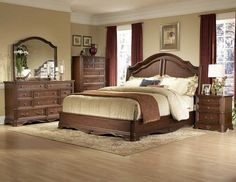 Bedroom:Charming Bedroom Ideas For Women With Brown And Beige Color Decoration Bedroom Ideas With Dark Wood Furniture Cream Wall Red Curtain Carpet On Light Wood Flooring Bedroom Design for Women: Sexy Brown Ideas