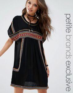 Glamorous+Petite+Embroidered+T-Shirt+Dress