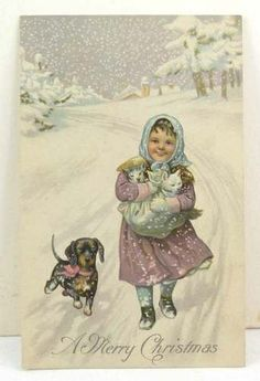 with Dachshund and kittens. Vintage Christmas postcard on Girl with Dachshund and kittens. Vintage Christmas postcard on 1 million+ Stunning Free Images to Use Anywhere Images Vintage, Vintage Christmas Images, Old Christmas, Old Fashioned Christmas, Christmas Scenes, Victorian Christmas, Retro Christmas, Vintage Holiday, Christmas Pictures
