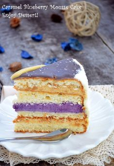 Tort cu cocos, mousse de caramel si mousse de afine Diet Recipes, Cake Recipes, Mousse Cake, Food Cakes, Something Sweet, Vanilla Cake, Coco, Blueberry, Food And Drink