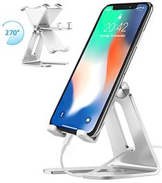 Cell Phone Stand, iPad Mini Stand, Comsoon Universal Adjustable Holder, Cradle, Charging Dock for all Smartphone, iPhone X/ 8 Plus, Note8, Switch & Kindle Reading, Facetime & Live Stream (Sliver) - Comsoon Multi-Angle Cell Phone Stand Holder--Elegant, Functional and Simple Free Your Hands This desk stand can hold your smartphone or mini tablet safe and steady, vertical or horizontal. Now it is time for you to free your hands, enjoy videos, readings, facetime, browsing the web, and live…