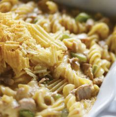 When was the last time you had Tuna-Noodle Casserole? Been awhile? This one's a twist on the classic. We made it with curly pasta, added cheese and topped it with crushed potato chips. Still yummy after all these years.