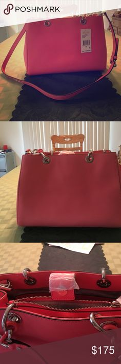 Brand new Michael kors  md satchel Leather Cynthia coral satchel comes with cross body strap . The purse has four drop pockets & 2 zipper pockets. Michael Kors Bags Satchels