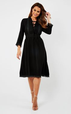 Lace Detailed Midi Dress - SilkFred