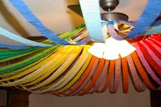 From www.housingafores.... This is made with a hula hoop and streamers.  I love it!  This blog is great!