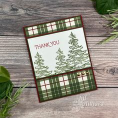 Christmas thank you card using Stamp Simply Clear Stamps O Christmas Tree stamps and Echo Park Papers Christmas Thank You, Christmas Tree Set, Christmas Card Crafts, Holiday Cards, Ribbon Store, Tim Holtz Distress Ink, Winter Trees, Winter Cards, Card Maker